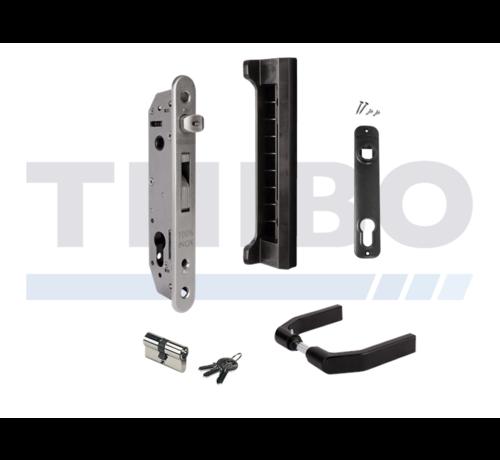 Locinox Complete set met insteekslot en slotvanger voor metalen, aluminium en PVC poorten