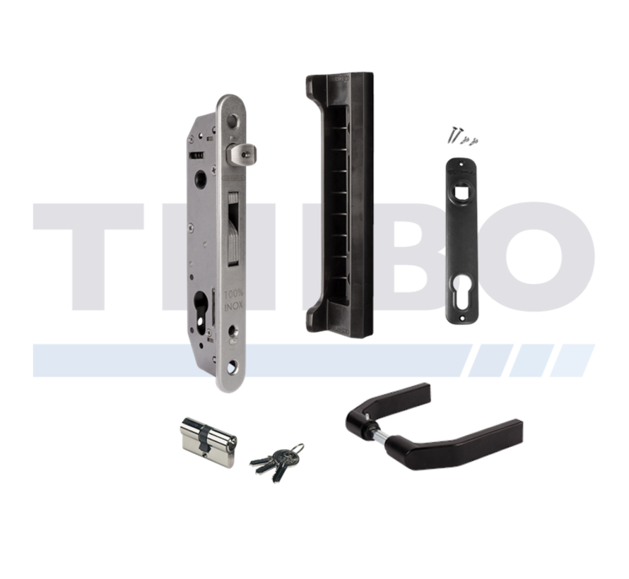 Complete insert lock set with keep for metal, PVC or aluminium gates