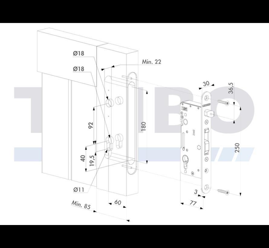 Roestvrijstalen insteekslot voor houten poorten H-WOOD