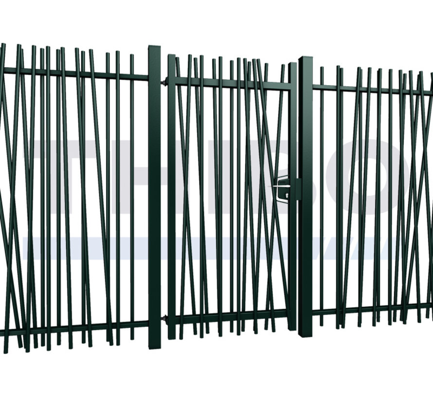 Einfaches Gitterzaun Drehtor Mykadoo mit runde Stäbe
