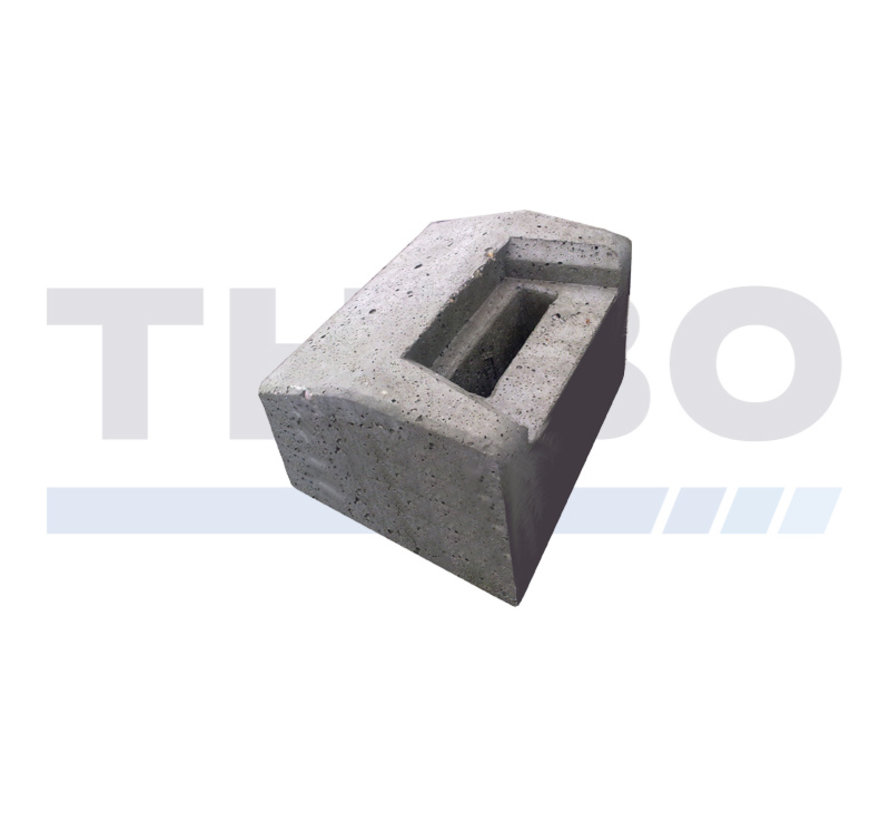 Low concrete ground stop for industrial or design swing gates