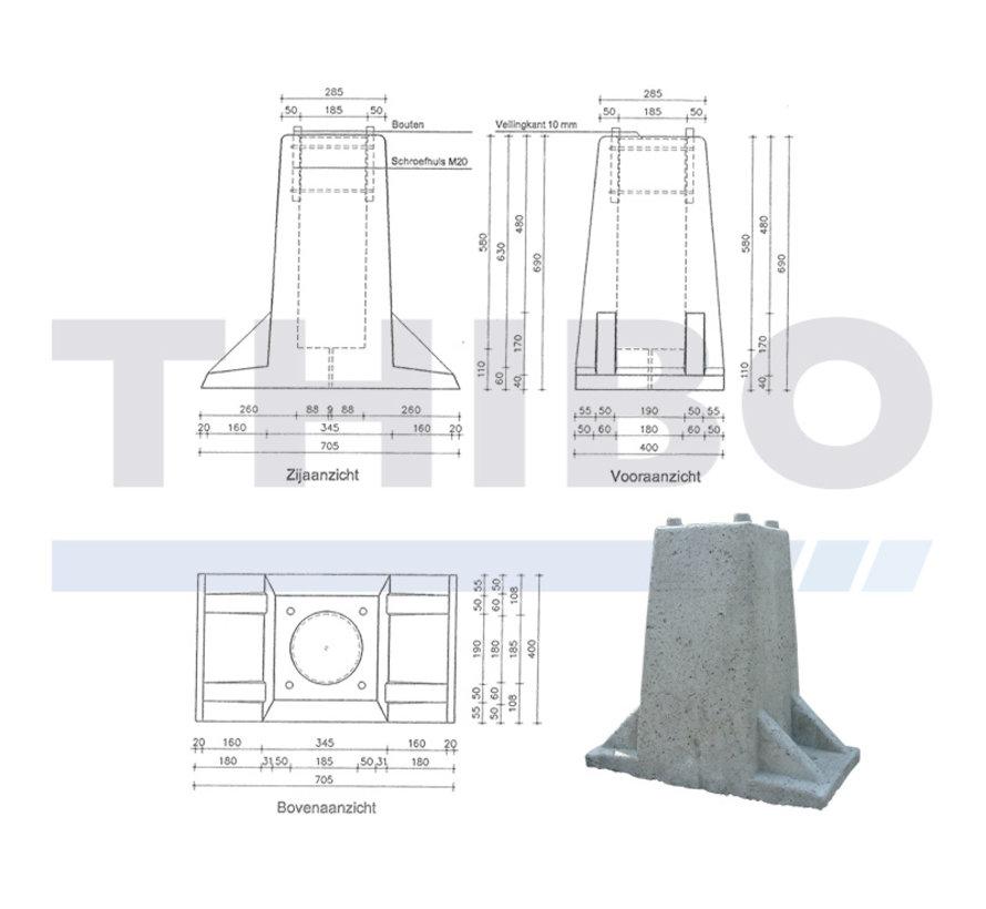 Hoher Beton-Fundament-/Torblock für Torpfosten auf Fußplatte