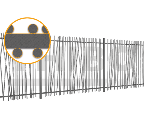 Thibo Bar fencing with round bars type Mykadoo per meter - Copy