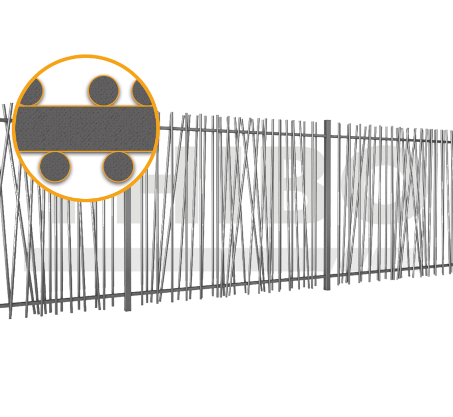 Bar fencing with round bars type Mykadoo per meter - Copy