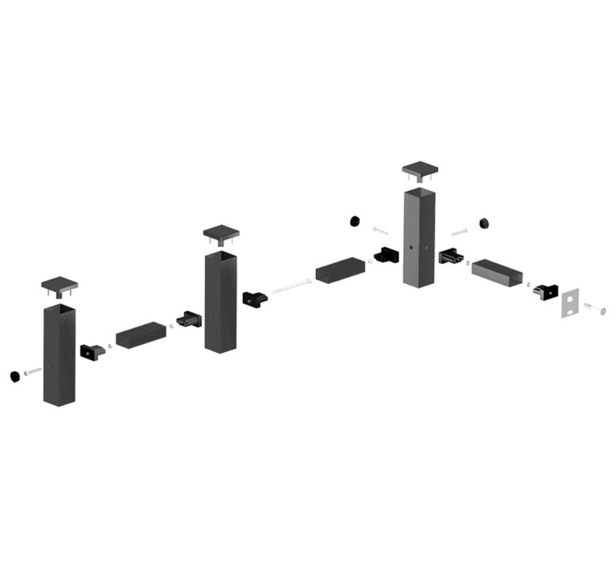Post connection sets for bar fencing