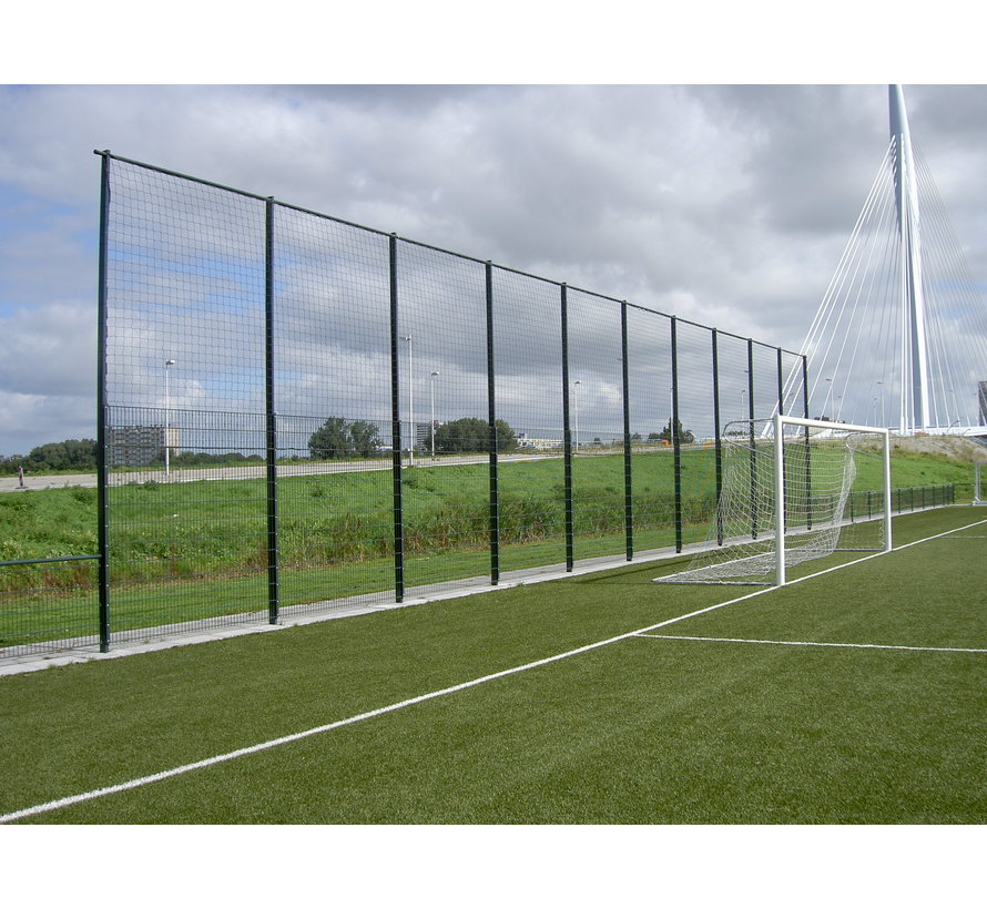 Ball catcher post with cover strip for extra high double wire mesh fences