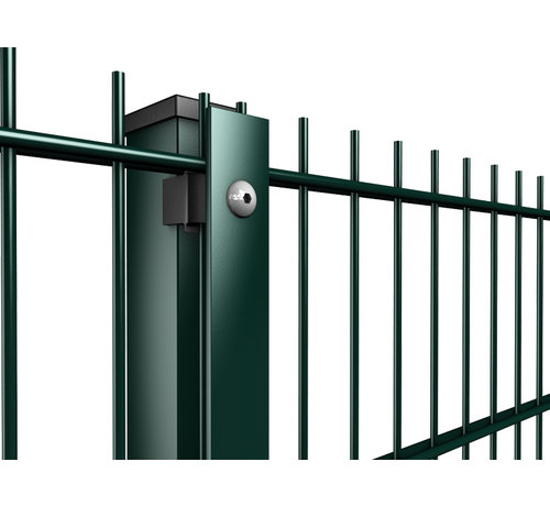 Thibo Ball catcher post with cover strip for extra high double wire mesh fences