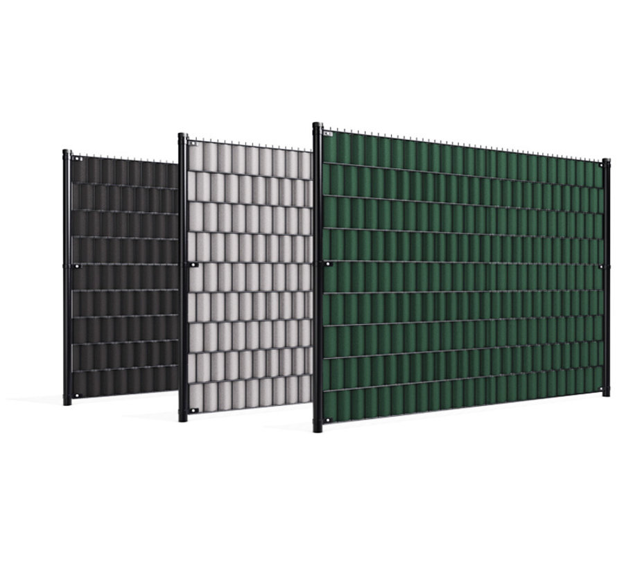 Double wire mesh panel privacy slats
