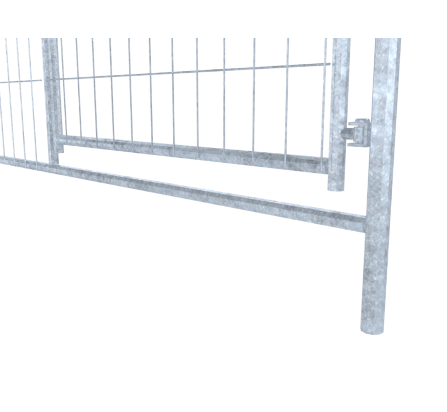 Galvanized mobile fence, type Apollo 8, with integraded Swing gate