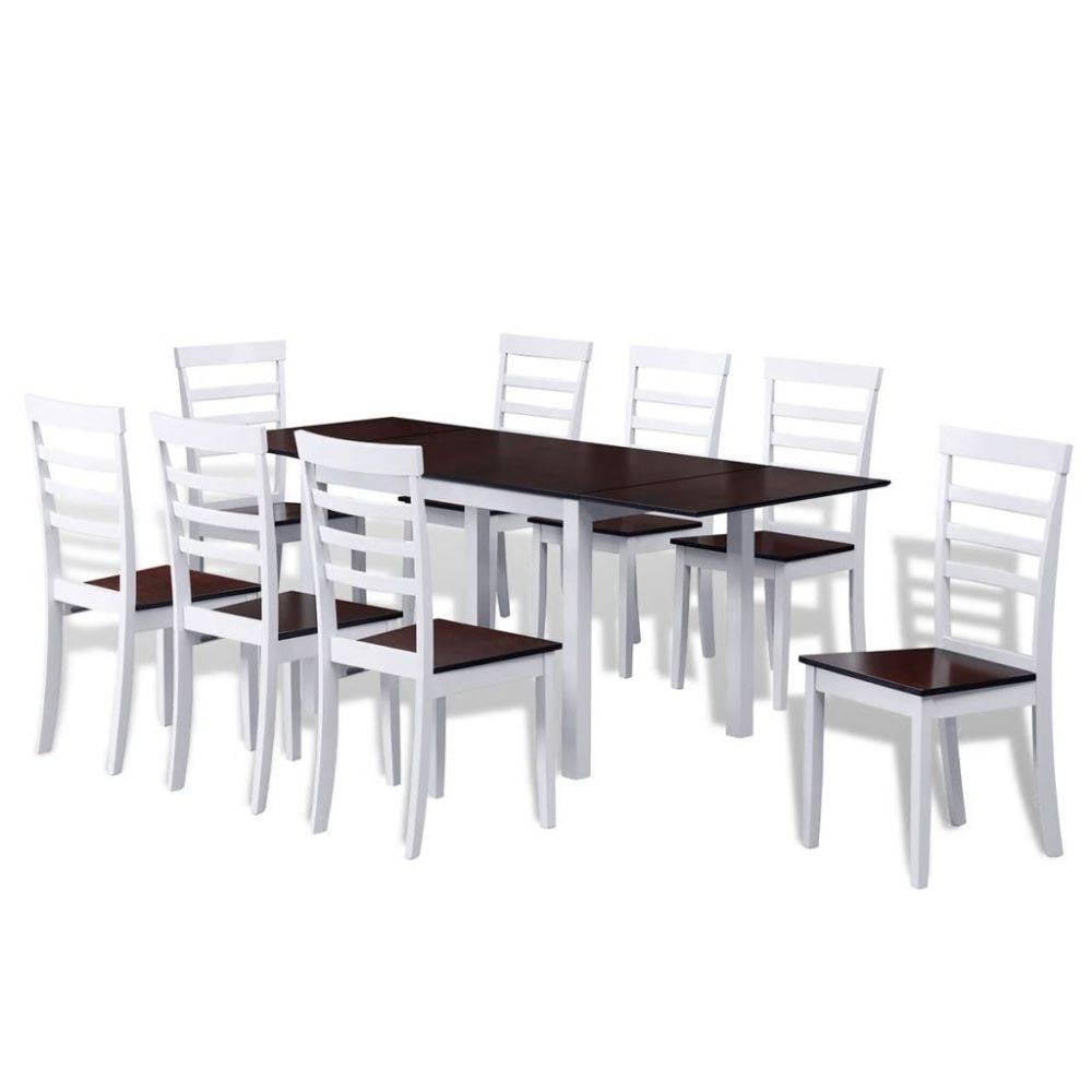 8 Houten Stoelen.Vidaxl Houten Uitschuifbare Eettafel Set Met 8 Stoelen Bruin Wit