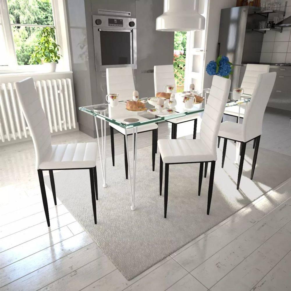 6 Witte Design Stoelen.Vidaxl Eetkamerset 6 Witte Slim Line Stoelen En 1 Glazen Tafel