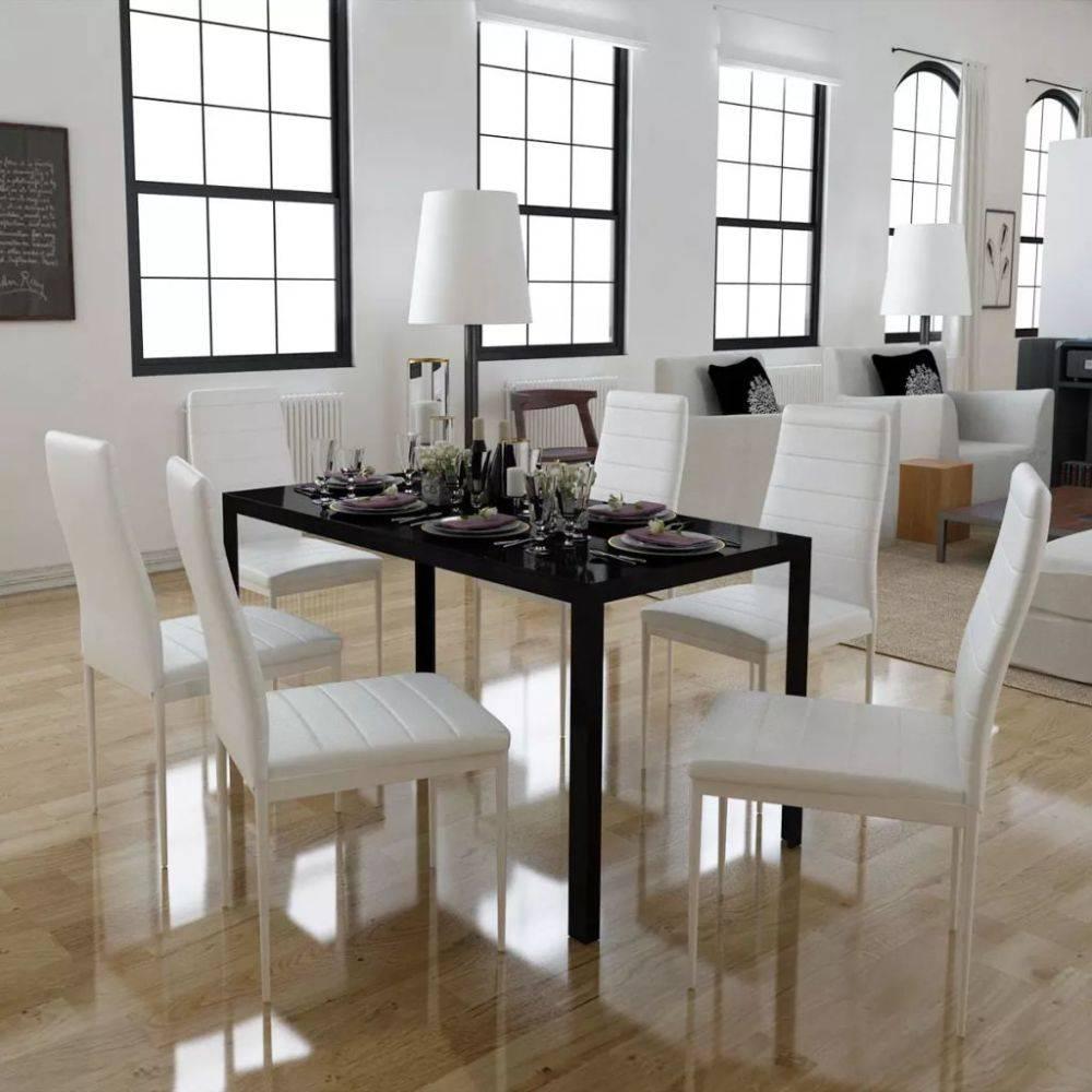 Design Tafel Met 6 Stoelen.Vidaxl Eethoek Met 6 Witte Stoelen 1 Tafel Modern Design Huis