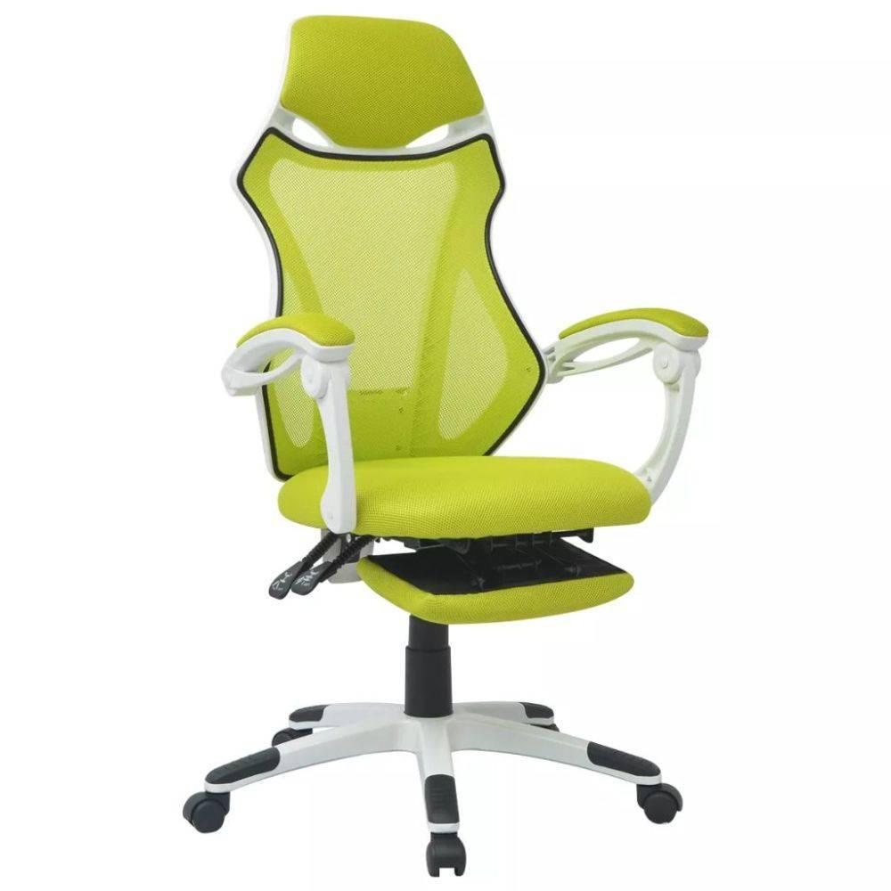 Bureaustoel Met Verwarming.Vidaxl Verstelbare Bureaustoel Met Beensteun Stof Wit En Groen