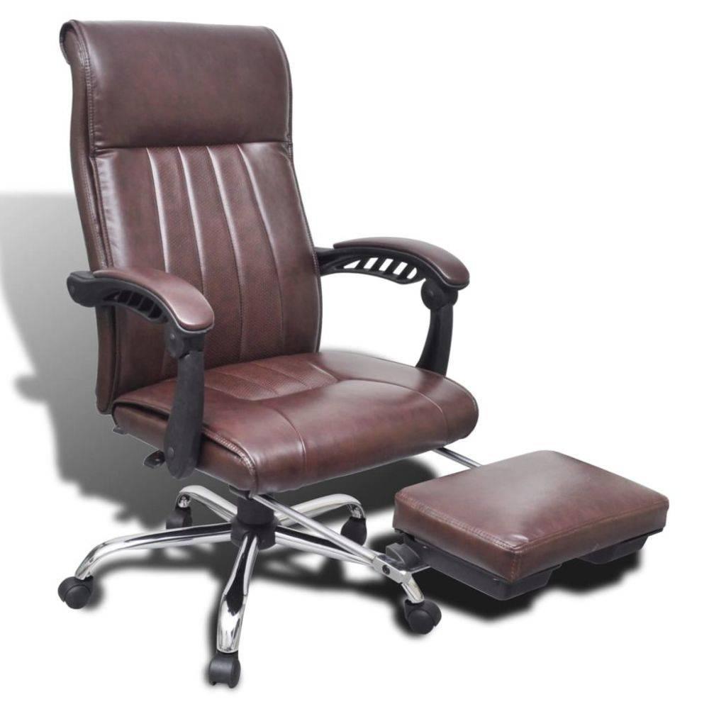 Bureaustoel Met Verwarming.Vidaxl Kunstleren Bureaustoel Met Verstelbare Voetsteun Bruin