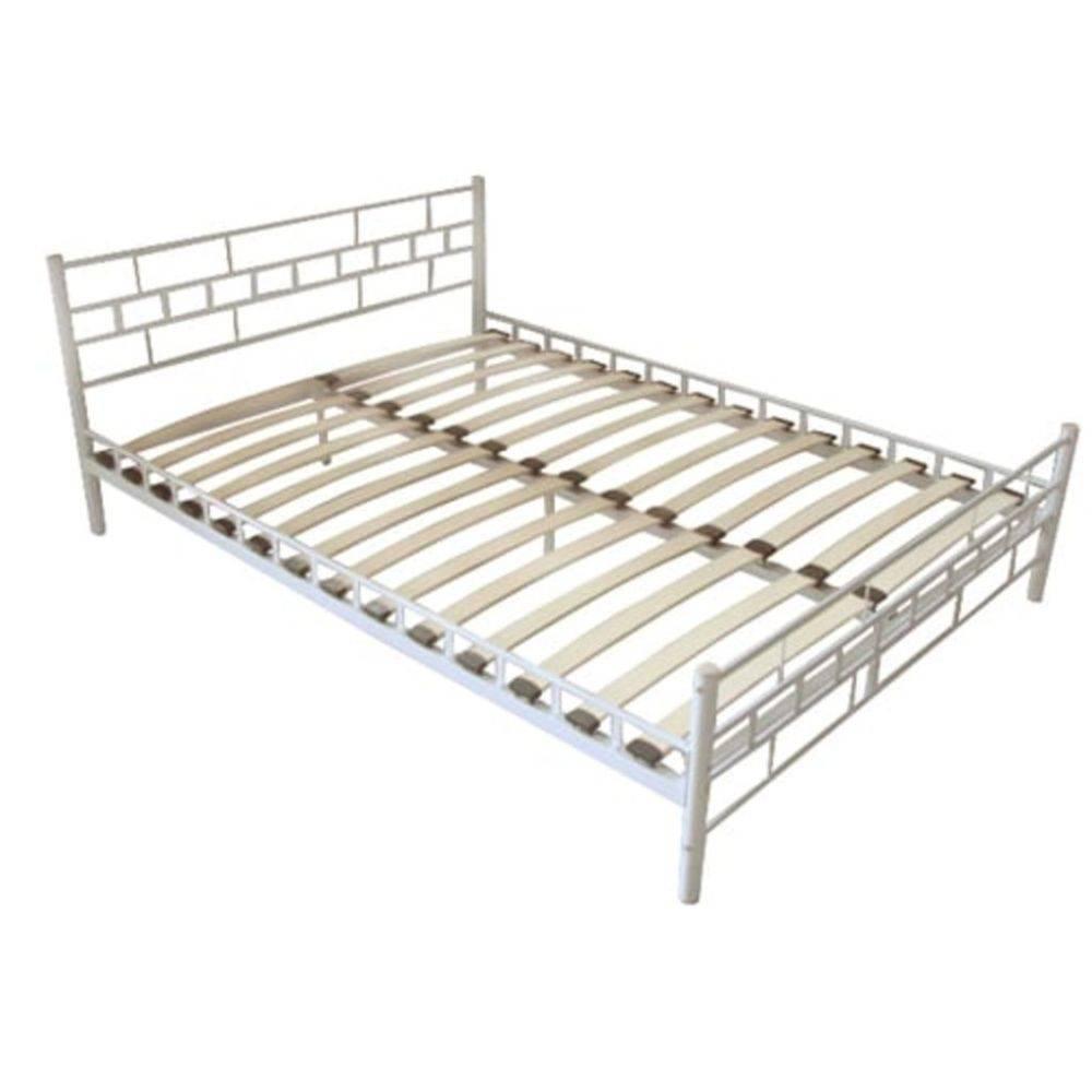 Metalen 2 Persoonsbed.Vidaxl 2 Persoons Bed Wit Van Metaal 140 X 200 Cm Huis Tuin Com