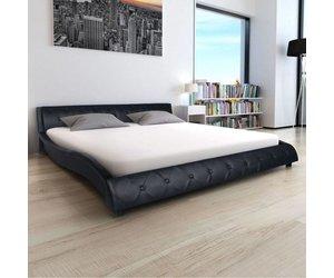 Tweepersoonsbed Met Matras : Vidaxl bed met matras kunstleer 180x200 cm zwart huis tuin.com