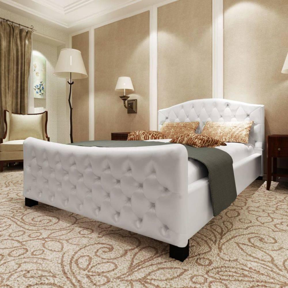 Bed 140x200 Met Matras.Vidaxl Bed Met Matras Luxe Kunstleer Wit 140x200 Cm Huis Tuin Com