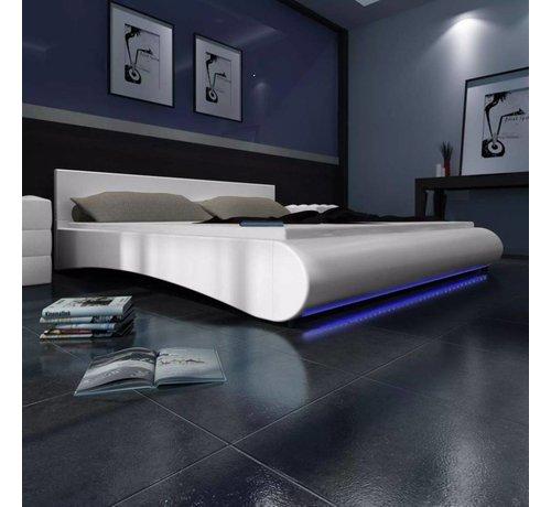 Bed 140x200 Wit.Vidaxl Imitatie Lederen Bed 140x200 Cm Met Led Verlichting Wit