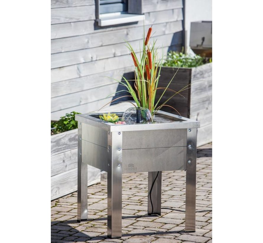 Terras fontein hout/RVS grijs