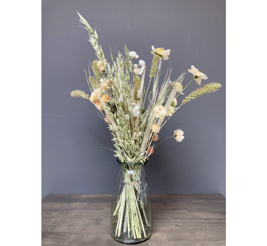 Droogbloemen en zijde boeket Anouk, Naturel, inclusief vaas