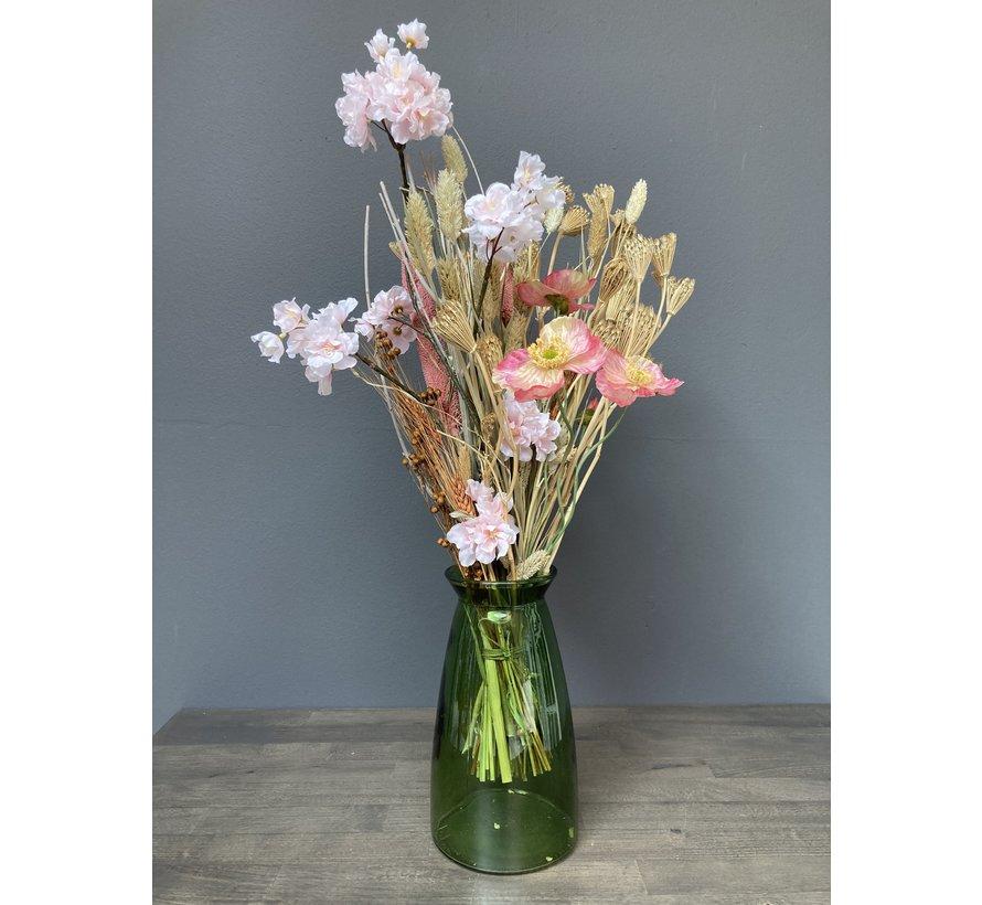 Droogbloemen en zijde boeket Cynthia, naturel en roze, inclusief vaas