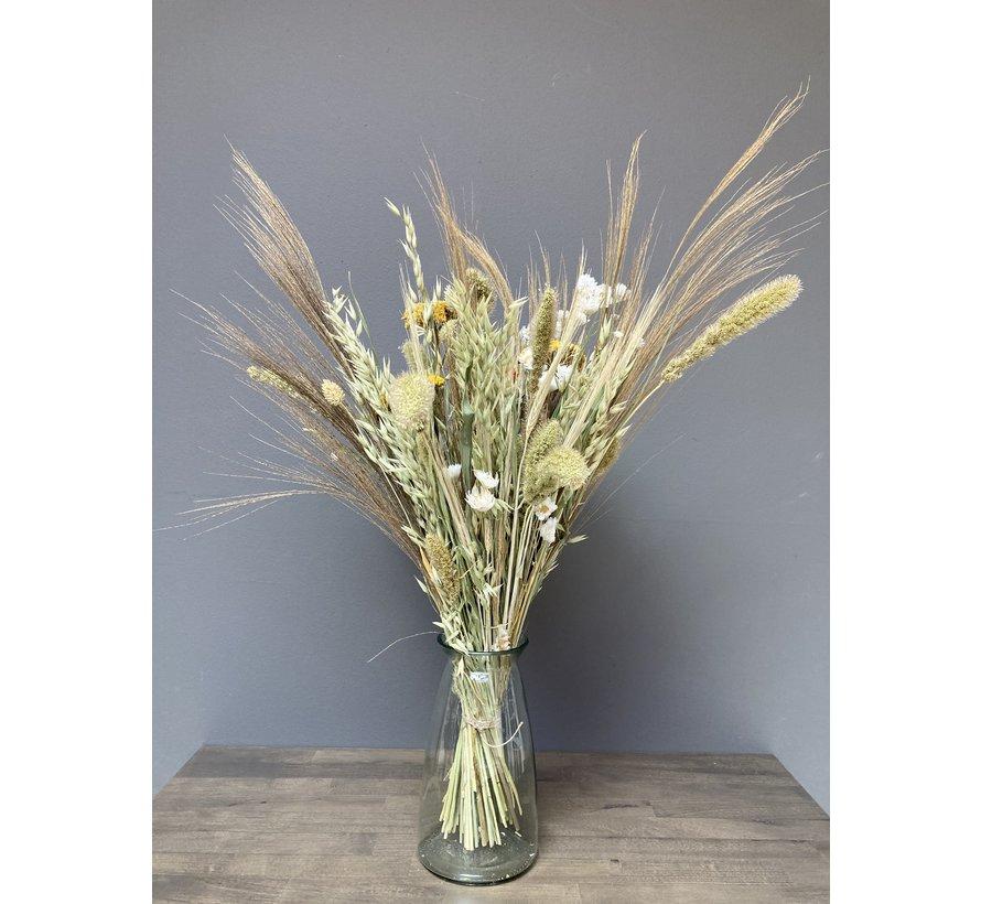 Droogbloemen boeket Louise, naturel en geel, inclusief vaas.