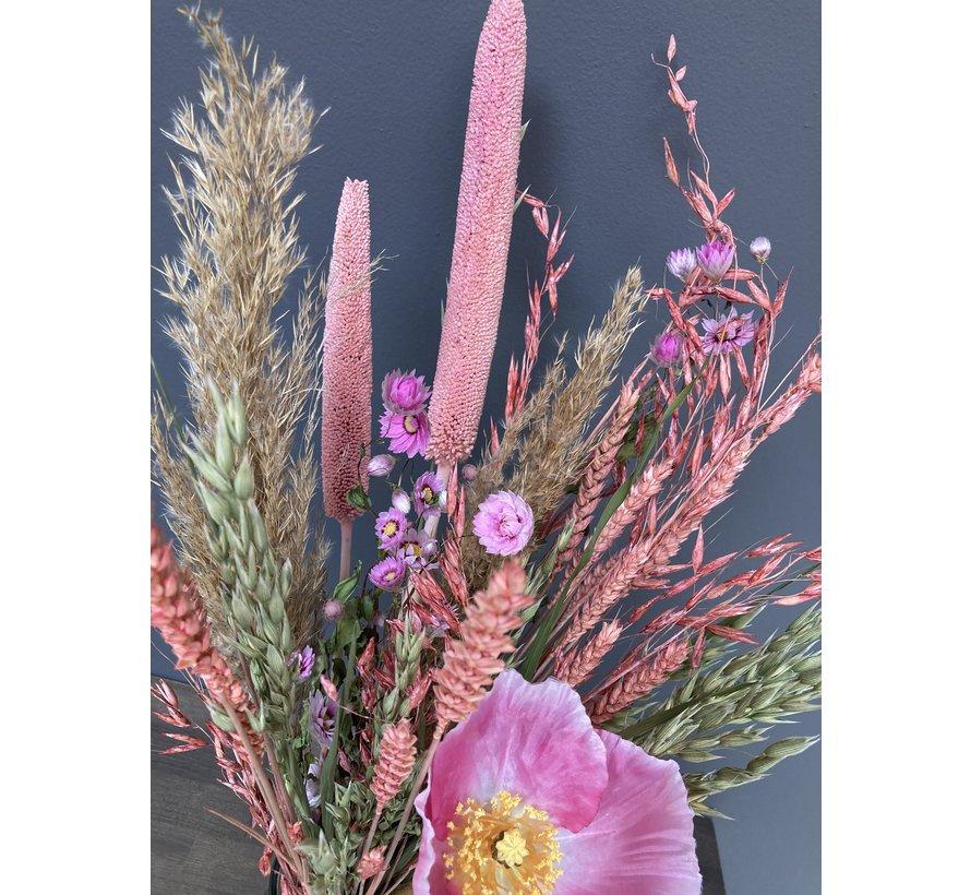 Droogbloemen en zijde boeket Rebecca, naturel en roze, inclusief vaas.