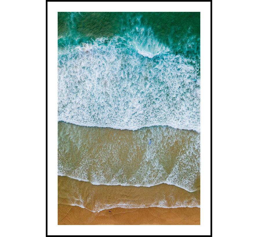 Poster Strand geel en blauw No2