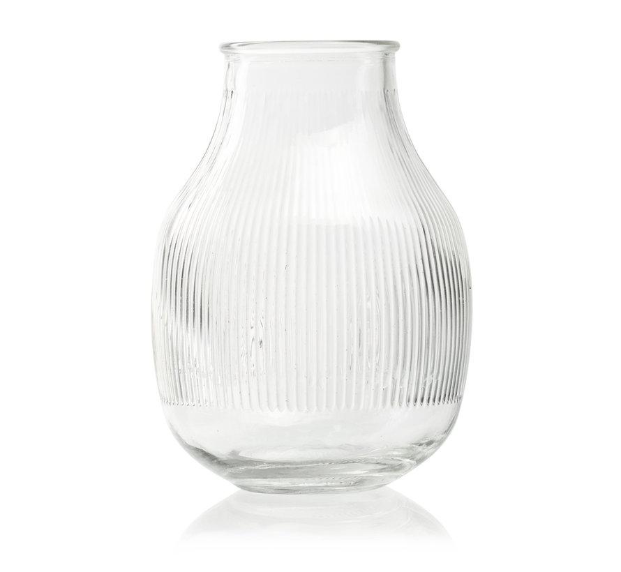 Design vaas met ribbel 'Dean' H17,5 D12,5/7 cm Transparant