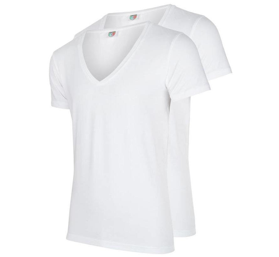 V-hals T-shirt Diep 2Pack Wit (1790003)