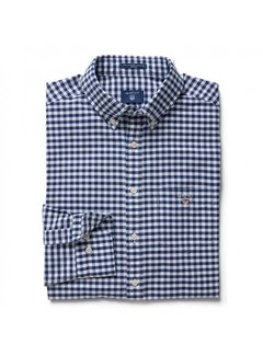 Gant overhemd ruit regular fit navy (3046200 - 423N)