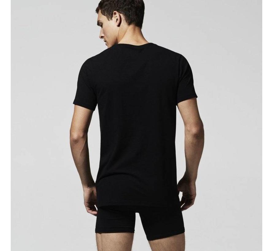 ronde hals t-shirt 2-pack zwart (148321 - 000N)