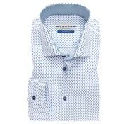 Ledub overhemd tailored fit print mouwlengte 7 blauw (0137184-140-160-000)