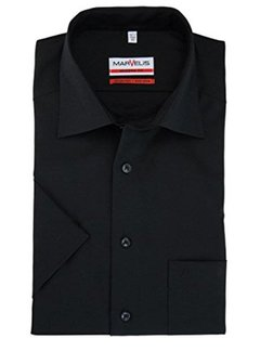 Marvelis strijkvrij overhemd korte mouw modern fit zwart (4700-12-68N)