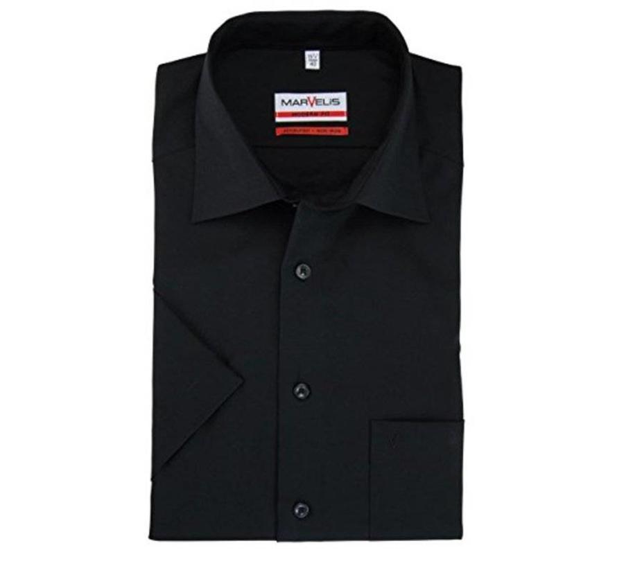 Overhemd Zwart Korte Mouw.Marvelis Strijkvrij Overhemd Korte Mouw Modern Fit Zwart