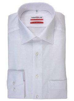 Marvelis strijkvrij overhemd Modern Fit Mouwlengte 7 uni wit (4700-69-00N)