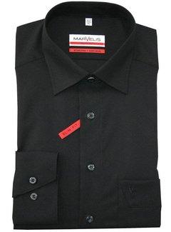 Marvelis strijkvrij overhemd Modern Fit Mouwlengte 7 uni zwart (4700-69-68N)