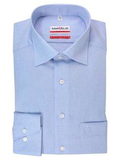 Marvelis strijkvrij overhemd modern fit uni licht blauw (4704-64-11N)
