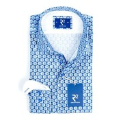 R2 Amsterdam overhemd blauw print (100.WSP.41 - 014)