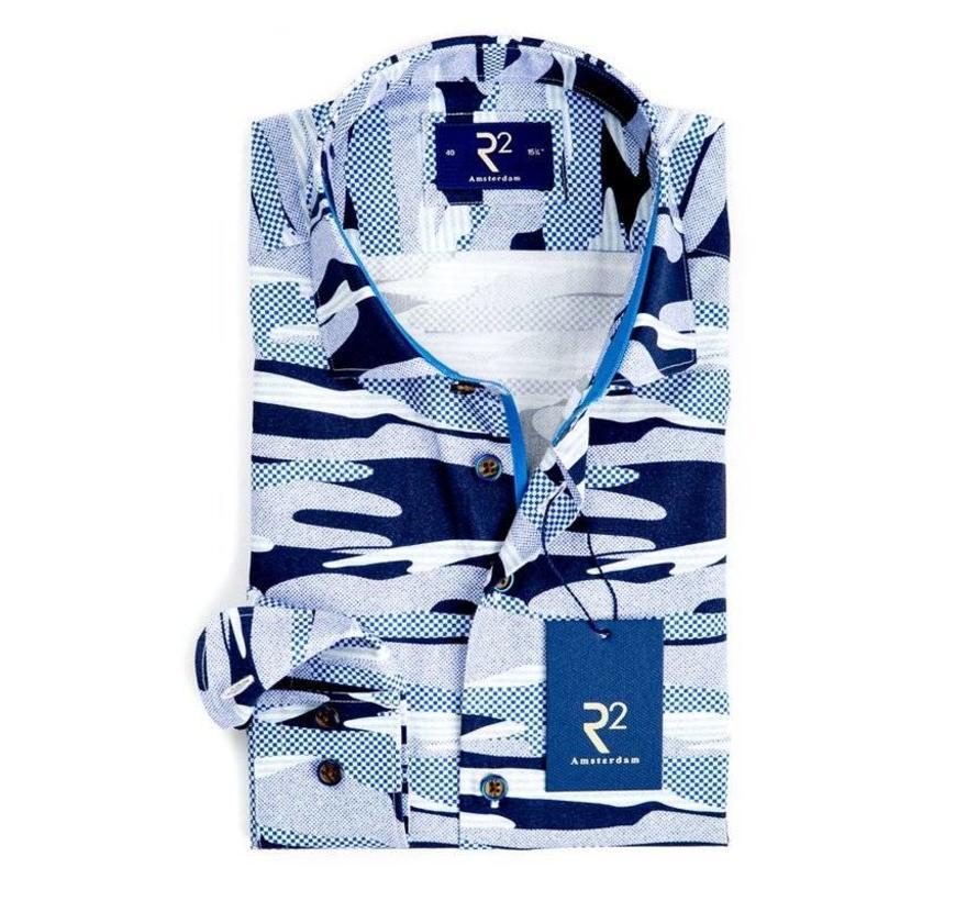 Overhemd Extra Mouwlengte.R2 Amsterdam Overhemd Extra Mouwlengte Print Navy Nieuwnieuw Com