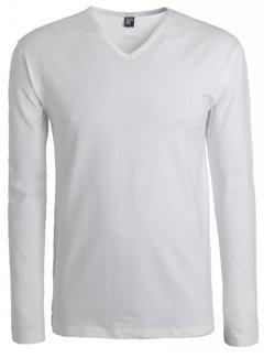Alan Red Lange Mouw T-shirt Oslo 1pack Stretch V-hals Wit (7803)