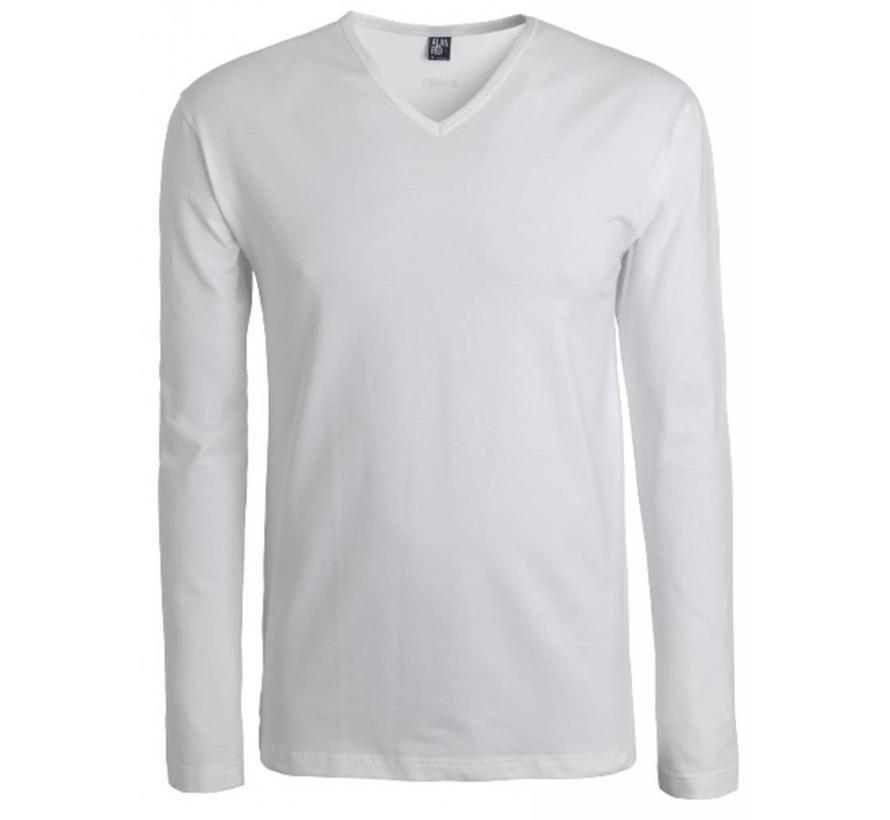 Lange Mouw T-shirt Oslo 1pack Stretch V-hals Wit (7803)