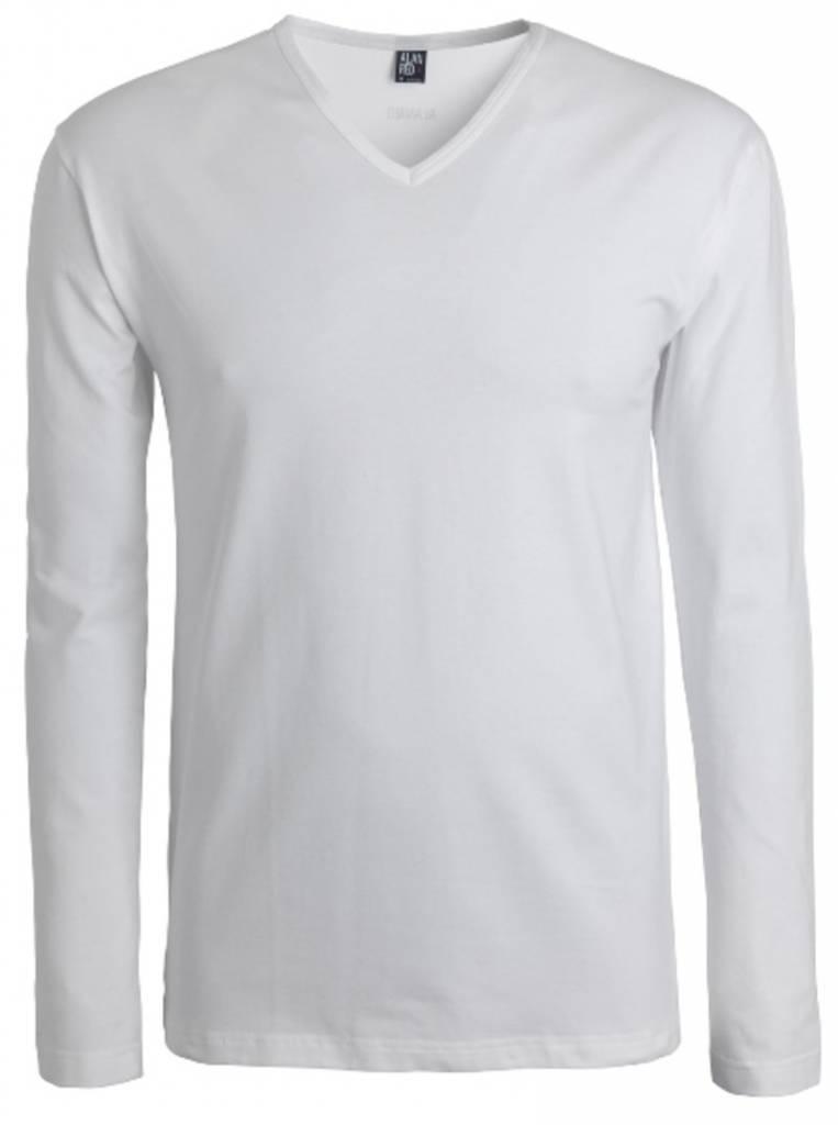 Alan Red Lange Mouw T-shirt Oslo 1pack Stretch V-hals Wit L
