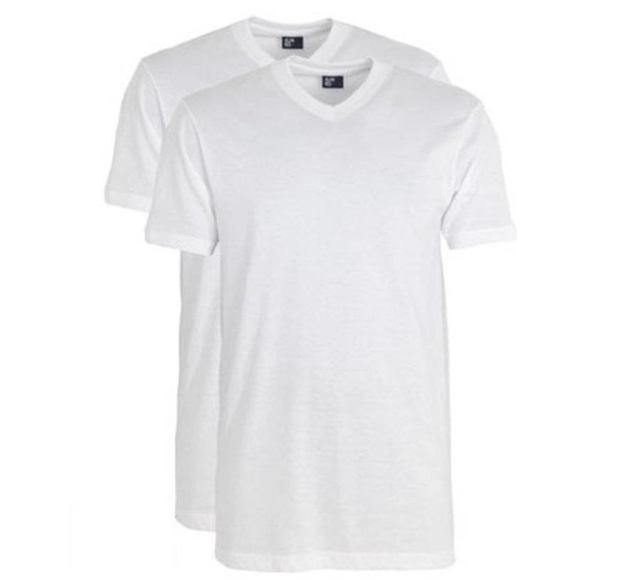 T-shirt West-Virginia 2-pack V-hals wit (3130N)