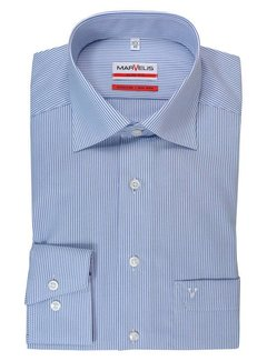 Marvelis strijkvrij overhemd modern fit streep blauw (7754-64-15N)