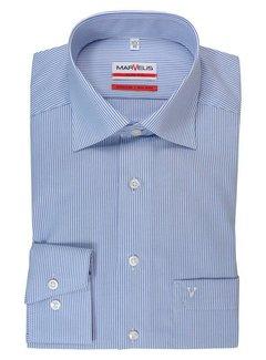 Marvelis strijkvrij overhemd streep blauw (7754-64-15N)