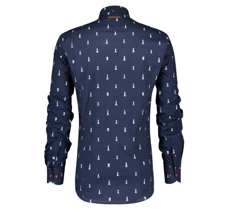 overhemd Checkmate navy (84.003)