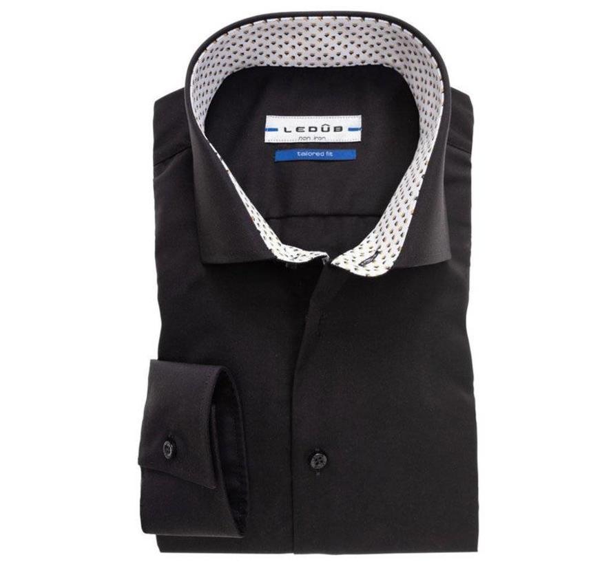 Tailored Fit Overhemd.Ledub Overhemd Tailored Fit Zwart 0137649 290 390 000