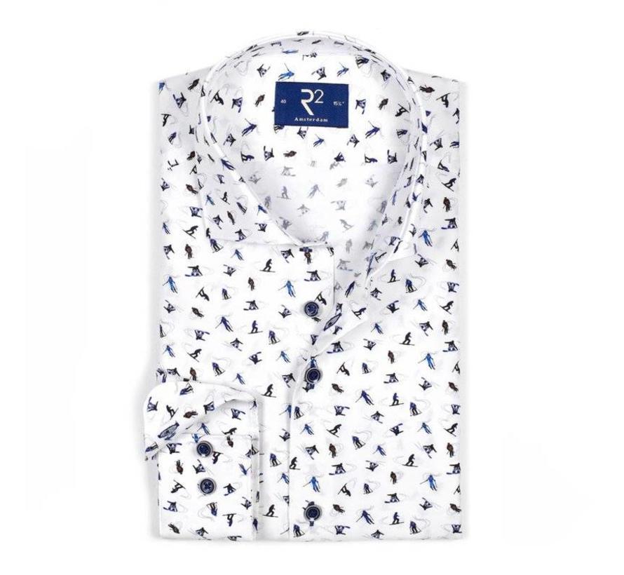 Overhemd Print.R2 Amsterdam Overhemd Print Wit 103 Wsp 035 004 Nieuwnieuw Com