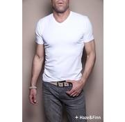 Haze & Finn T-shirt V-Hals Wit (ME-0001)